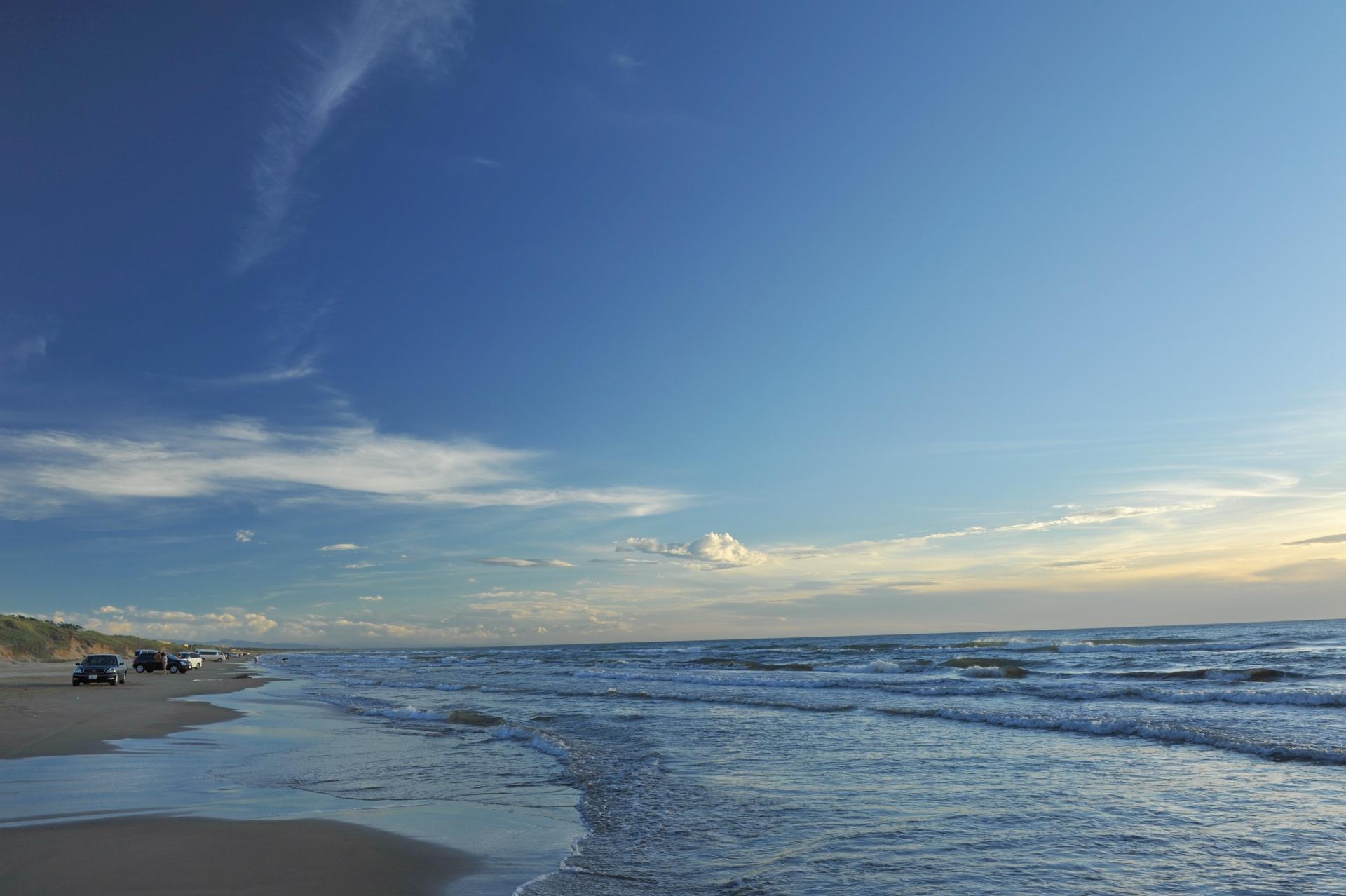 千里浜なぎさドライブウェイ,波打ち際,砂浜